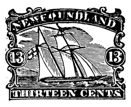 New foundland stamp showing ships in sea vintage line drawing. Иллюстрация