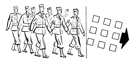 Military Personnel Marching to the Right which men are marching, vintage line drawing or engraving illustration. Illustration