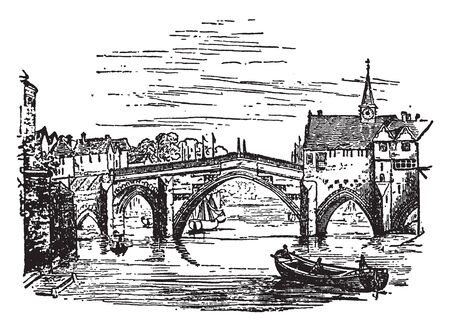York Bridge is a fine bridge over the Ouse at York erected in the reign of Queen Elizabeth was taken down some years ago, vintage line drawing or engraving illustration.