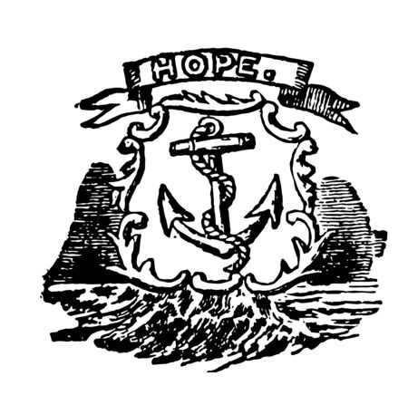 State seal of Rhode island with motto HOPE vintage line drawing.
