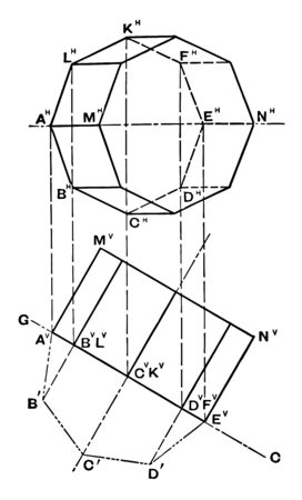 The image shows different faces of an octagonal prism with two-dimensional and three-dimensional representation, vintage line drawing or engraving illustration. Çizim