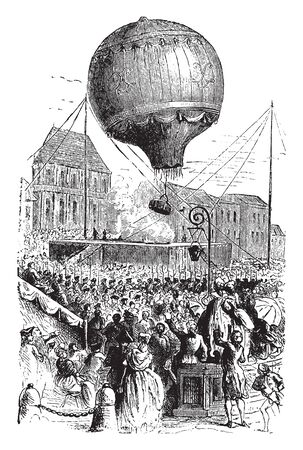 Montgolfier balloon is a lighter than air aircraft consisting of a bag called an envelope, vintage line drawing or engraving illustration.