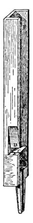 This illustration represents Cross Sectional View of Organ Flue Pipe, vintage line drawing or engraving illustration. Çizim