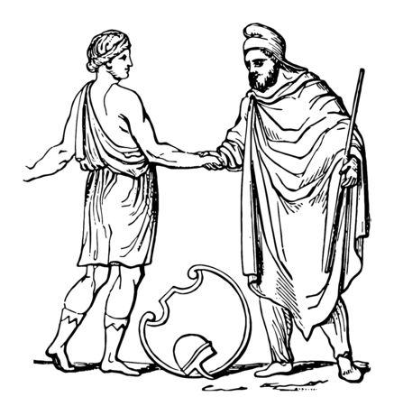A shepherd shaking hands with Pedum, vintage line drawing or engraving illustration. Vector Illustratie