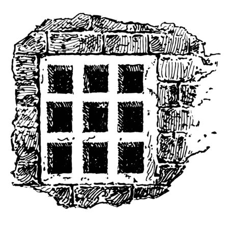 This is the image of the window. The window is divided into 9 equal parts in square format. This is the window of the traquita, vintage line drawing or engraving illustration. Çizim