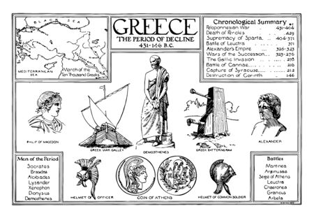 A Greece Poster of the Period of Decline, vintage line drawing or engraving illustration.