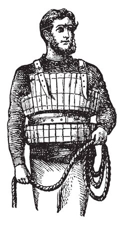A man wearing a life jacket and holding rope in his hand, vintage line drawing or engraving illustration 일러스트