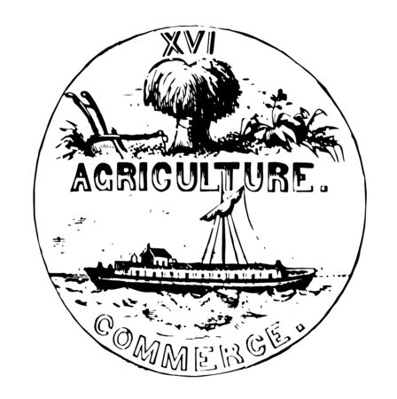 Image of Tennessee seal showing a plow, bundle of wheat, cotton plant and the word Agriculture written below vintage line drawing.