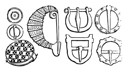 The different designs of fibula used in Ancient Greece, vintage line drawing or engraving illustration. Çizim