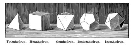 Illustration containing a tetrahedron, hexahedron, octahedron, dodecahedron and icosahedron, placed side by side, vintage line drawing or engraving illustration. Illusztráció