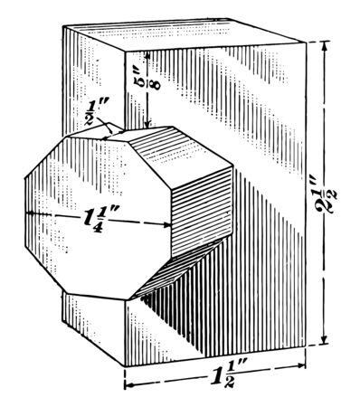 The image shows the intersection of a quadrangular prism and an octagonal prism. The figures are cut at right angles, vintage line drawing or engraving illustration. Çizim