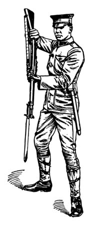 Low Parry moving the point of the bayonet sufficiently to the right to keep the opponent attacks clear of the point threatened, vintage line drawing or engraving illustration.