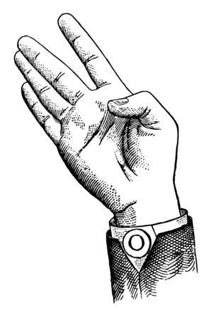 Primary Consonant positions have only the first finger accented. Throat Consonant positions differ from those of the Back in having the index and center fingers separated, vintage line drawing or engraving illustration.
