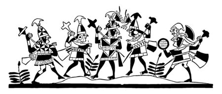 This is the image of the Peruvian drawing. This drawing shows the view of the Inca warriors. There are small trees at the bottom, vintage line drawing or engraving illustration.