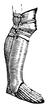 Bainberg is a name given to the plate armor of the leg below the knee, vintage line drawing or engraving illustration. Ilustração