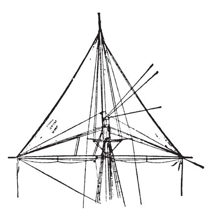Raffle is a three cornered sail set on schooners in windy conditions, vintage line drawing or engraving illustration.