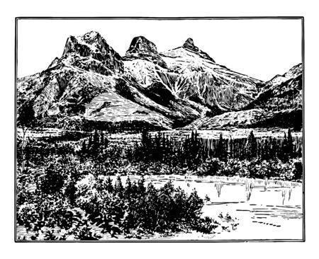 Three sisiters are three peak ranges of mountains that can be seen from anywhere in Canmore. These are big sister, middle sister and little sister vintage line drawing. Иллюстрация