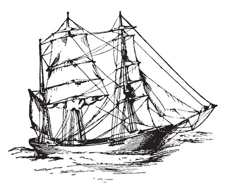 Ship is a large watercraft that travels the world oceans and other sufficiently deep waterways carrying passengers or goods, vintage line drawing or engraving illustration. Illusztráció