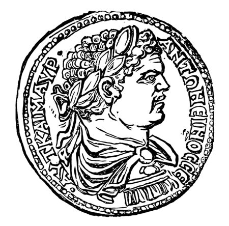 A coin that shows the bust of an emperor who has worn a crown, vintage line drawing or engraving illustration.