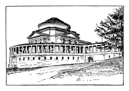 The Hall of Fame for Great Americans, Bronx community college, Bronx, New york city. Designed by architect Stanford white vintage line drawing.
