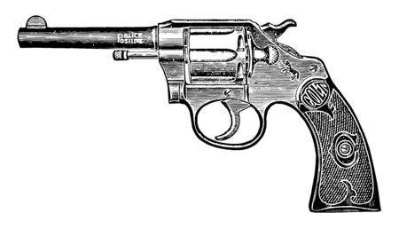 Colt Police Positive Revolver was a revolver manufactured in 1907, vintage line drawing or engraving illustration. Çizim