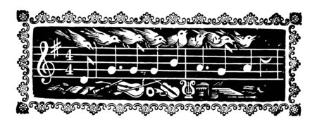 Music notes is the pitch and duration of a sound, vintage line drawing or engraving illustration.