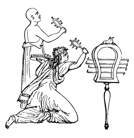Sistrum was an Egyptian instrument of music, vintage line drawing or engraving illustration. 向量圖像