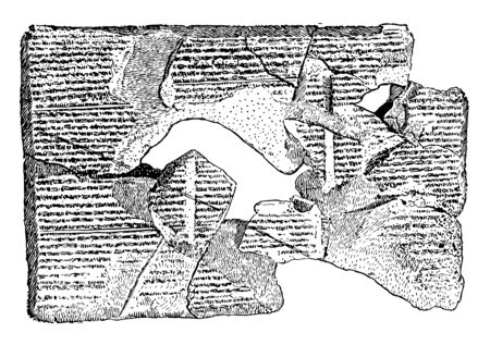 The fragment showing of a stone tablet. The set contains the narrative of the flood as reconstructed, vintage line drawing or engraving illustration.