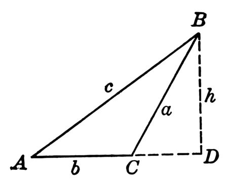 The image shows the obtuse triangle ABC with height h and is shown with dotted lines called hidden part or extra drawn part to calculate the other measures, vintage line drawing or engraving illustration. Çizim