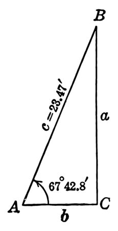 The image shows the right triangle ABC. It has three angles, one of them is 90 and another 60 or 30, vintage line drawing or engraving illustration. Illustration