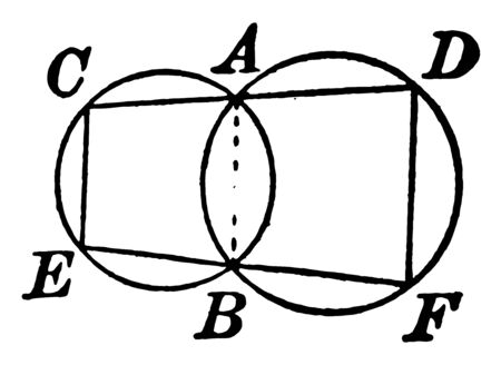 An image showing two circles intersecting with a line drawn through each intersection point terminated by the circles. The chords that join the ends of these lines are parallel, vintage line drawing o