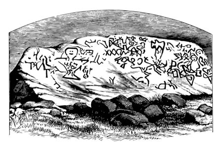 40 ton boulder rock located in the taunton riverbed, Massachusetts vintage line drawing.