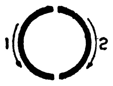 This is a picture of correct stroke technique for writing letter O in commercial gothic, vintage line drawing or engraving illustration.