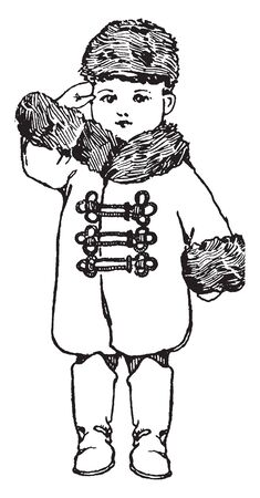 Russian doll in traditional national costume, vintage line drawing or engraving illustration. Illusztráció