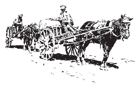 Transport Cart which is a Russian field Transport Cart, vintage line drawing or engraving illustration. Ilustrace