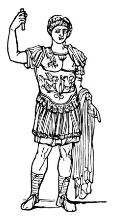 A soldier wearing a cuirass called Lorica, vintage line drawing or engraving illustration.