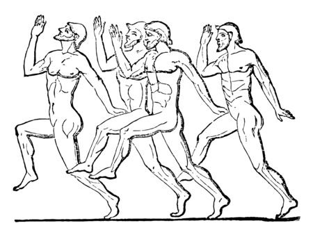 Greeks competing on a foot-race, vintage line drawing or engraving illustration. Çizim