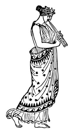Grecian Female with Double Flute dressed for festive occasion, vintage line drawing or engraving illustration. Ilustrace