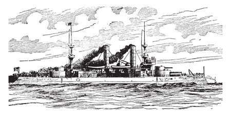 USS Kearsarge is the third Wasp class amphibious assault ship of the United States Navy, vintage line drawing or engraving illustration. Ilustrace