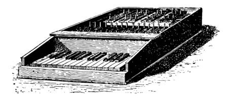 Carillon with Clavier which would be impossible to the simple carillion, vintage line drawing or engraving illustration. Vector Illustration