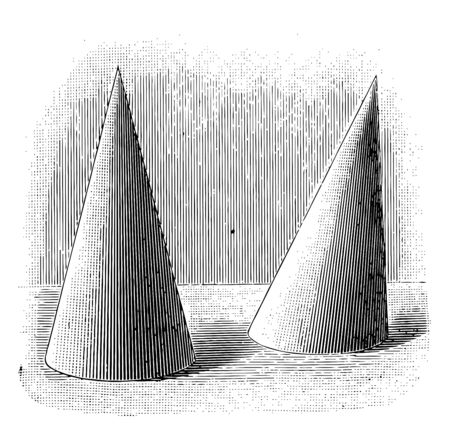 The image shows two cones. One is at a right angle and the second is at an oblique angle, vintage line drawing or engraving illustration.