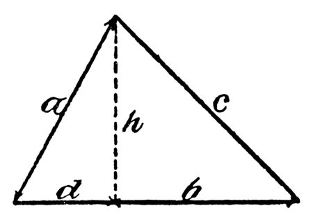 An image showing the acute triangle. This triangle the three angles are acute. Acute triangle labeled with height H, vintage line drawing or engraving illustration. Фото со стока - 132953116