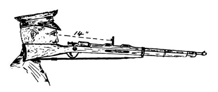 Rifle Sight is an optical device used to assist aim by guiding the eye and aligning it with a weapon or other item to be pointed, vintage line drawing or engraving illustration.