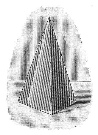 Image of a pyramid that is linked to a cone, vintage line drawing or engraving illustration. Ilustrace