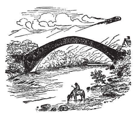 Pont y tu Prydd goes over the River Taff near Newbridge where the arch measures 140 feet between the abutments, vintage line drawing or engraving illustration.