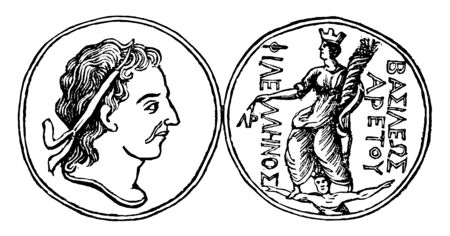 This is the Damascus medal. One side of the medal shows the face closely. Another side of the medal shows the goddess holding out her right hand, vintage line drawing or engraving illustration. Vectores