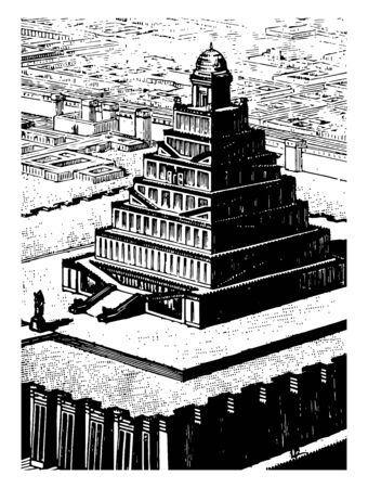 This image shows the Chaldean temple seen from the sky. There are several buildings around the temple, vintage line drawing or engraving illustration.