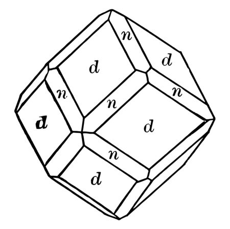 Projecting dodecahedron and Trapezohedron. It is limited by rhomb, vintage line drawing or engraving illustration.
