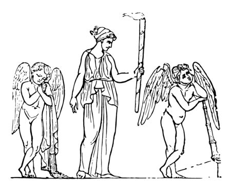 The fax or torch held by  a lady and the two winged figures on each side, vintage line drawing or engraving illustration.