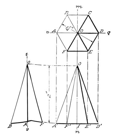 An image showing the diagram of the projection of a hexagonal prism, vintage line drawing or engraving illustration.